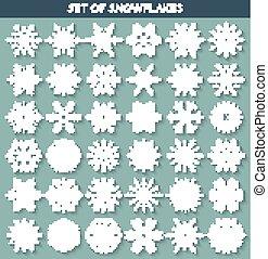 différent, ensemble, flocons neige, fait main, 36, long, blanc, ombre