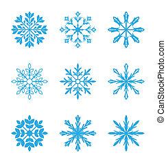différent, ensemble, flocons neige, isolé, fond, blanc