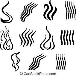 différent, ensemble, fumée, icônes