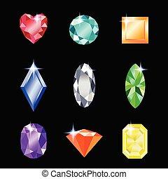 différent, ensemble, gemstones, bijoux, conception, colors.
