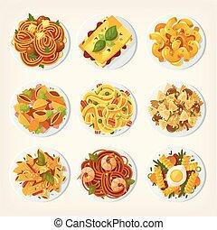 différent, ensemble, genres, plats, beaucoup, top., pâtes