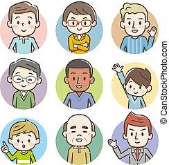 différent, ensemble, gens, avatars, age., races, heureux