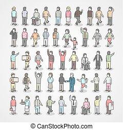 différent, ensemble, gens., collection, grand, poses.