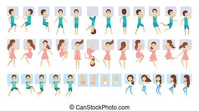 différent, ensemble, gens, grand, sommeil, position.