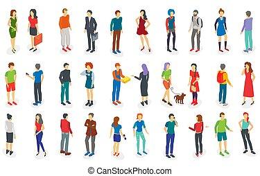 différent, ensemble, gens, isométrique, illustration, isolé, vecteur