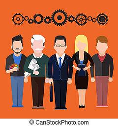 différent, ensemble, gens, professions, silhouettes, caractères