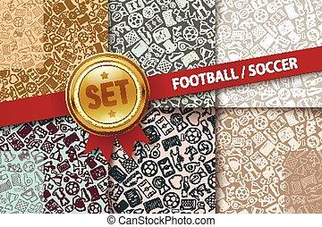 différent, ensemble, icônes, griffonnage, football, arrière-plans, couleurs
