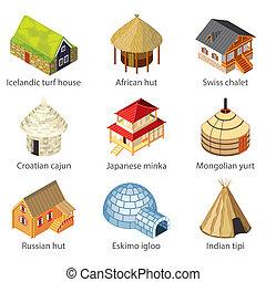 différent, ensemble, icônes, nations, maisons, vecteur