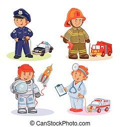 différent, ensemble, icônes, professions, vecteur, petits enfants