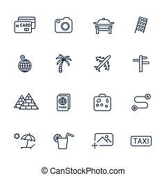 différent, ensemble, icônes voyage