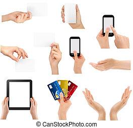 différent, ensemble, illustration affaires, vecteur, tenant mains, objects.
