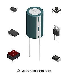 différent, ensemble, illustration., composants, vecteur, électronique, 3d
