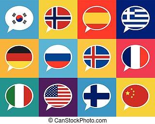 différent, ensemble, illustration., pays, langues, concept, parole, bulles, flags., coloré
