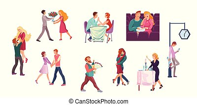différent, ensemble, illustration, situations., dates, plat, dessin animé, couples, vecteur, style., romantique