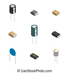 différent, ensemble, illustration., vecteur, composants, électronique, 3d