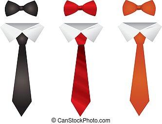différent, ensemble, isolé, fond, cravates, blanc