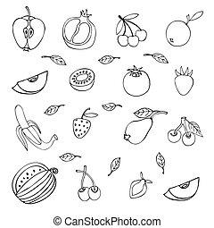différent, ensemble, isolé, fond, fruits, blanc