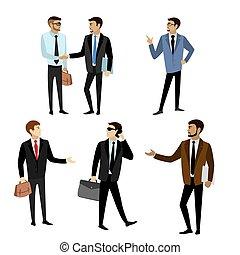 différent, ensemble, isolé, poses, fond, homme affaires, blanc