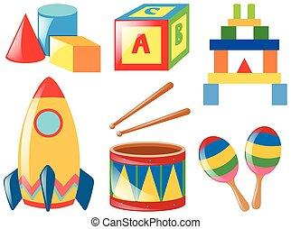 différent, ensemble, jouets