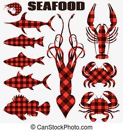 différent, ensemble, menu, fruits mer, stylisé, silhouettes, vecteur