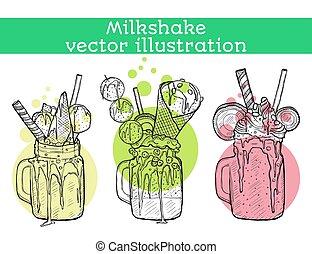 différent, ensemble, milkshakes., vanille, croquis, bonbon, vecteur, chocolat, illustration, fraise