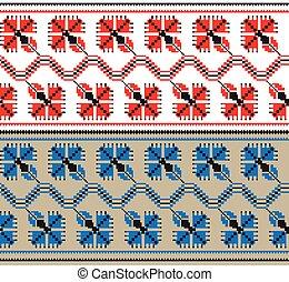 différent, ensemble, modèle, ornement, illustration, vecteur, colors., ethnique, floral, géométrique