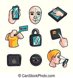 différent, ensemble, moderne, vie, humain, sécurité, biometric