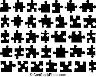différent, ensemble, morceaux puzzle