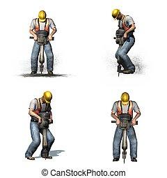 différent, ensemble, ouvrier, vues, -, fond, marteau-piqueur, blanc, travaux