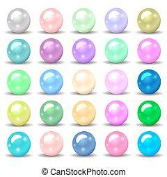 différent, ensemble, perles, illustration, couleurs, conception, ton