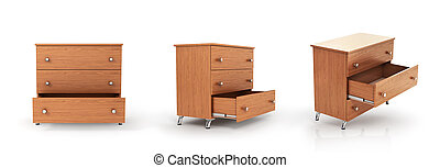 différent, ensemble, placard, positions, drawer., trois,...