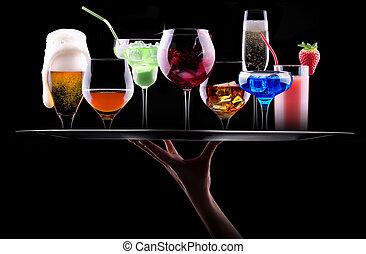 différent, ensemble, plateau, alcool, boissons