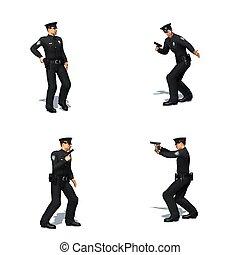 différent, ensemble, police, vues, -, officier, fond, blanc, pistolet