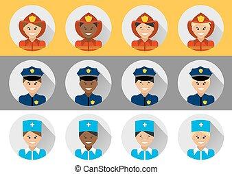 différent, ensemble, pompier, docteur, gens, police, nationalités