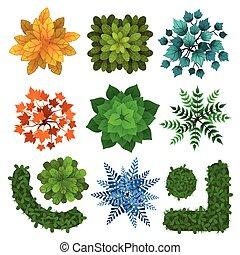 différent, ensemble, projects., illustration, sommet, arbres, isolé, arbrisseaux, vecteur, vert, white., conception, hedges., paysage, vue