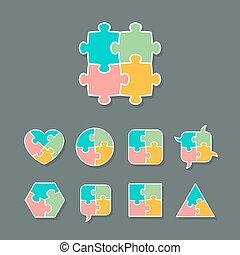 différent, ensemble, puzzle, puzzle, formes, morceau
