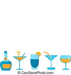 différent, ensemble, quatre, whisky, bouteille, icône, lunettes