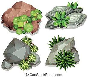 différent, ensemble, rochers