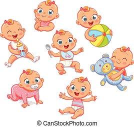 différent, ensemble, situations., nouveau né, fille souriante, heureux