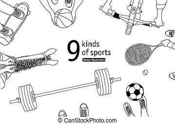 différent, ensemble, sommet, sports, noir, blanc, athlètes, vue