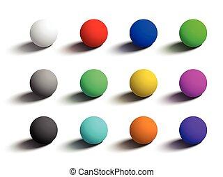 différent, ensemble, sphères, isolé, réaliste, colors., 3d