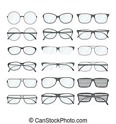 différent, ensemble, style, bord, blanc, lunettes
