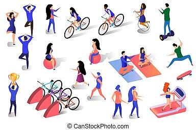 différent, ensemble, style de vie, gens, isométrique, actif