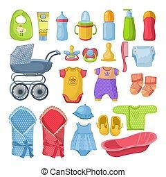 différent, ensemble, style, nouveau né, vecteur, illustrations, outils, dessin animé, baby.