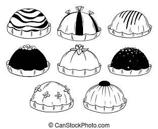 différent, ensemble, sweets., isolé, bonbons, chocolat, arrière-plan., gâteau, blanc
