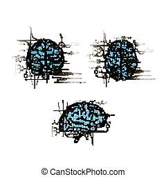 différent, ensemble, technique, cerveaux, vues, fonctions, cerveau, humain, concepts, blanc, gauche