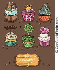 différent, ensemble, toppings, petits gâteaux, délicieux
