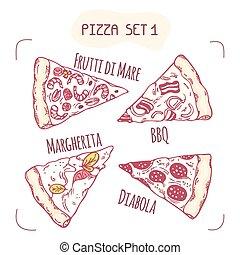 différent, ensemble, tranches, main, dessiné, pizza