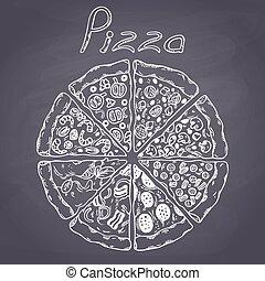 différent, ensemble, tranches, style, illustration, craie, tableau, vector., pizza