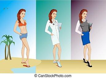 différent, ensemble, trois, jeunes femmes, vêtements